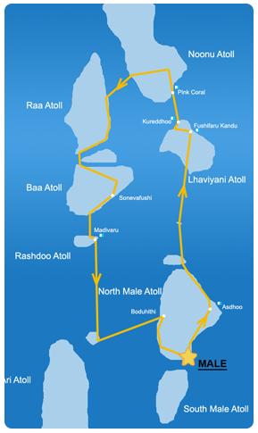 Ruta 15 días en la zona Norte de Maldivas