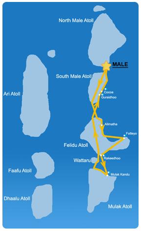 Ruta 7 días en la zona Sur-Este de Maldivas