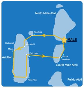 Ruta 7 días en la zona Oeste de Maldivas