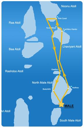 Ruta 7 días en la zona Noreste de Maldivas
