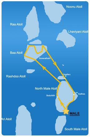 Ruta 7 días en la zona Noroeste de Maldivas