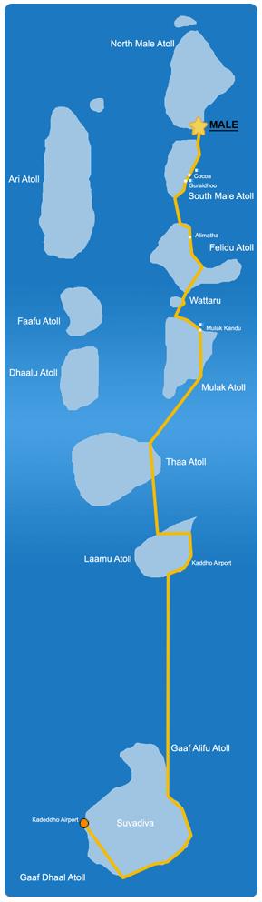 Ruta de aventura en la zona Extremo Sur de Maldivas